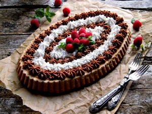 crostata con ganache ai due cioccolati e crema mou