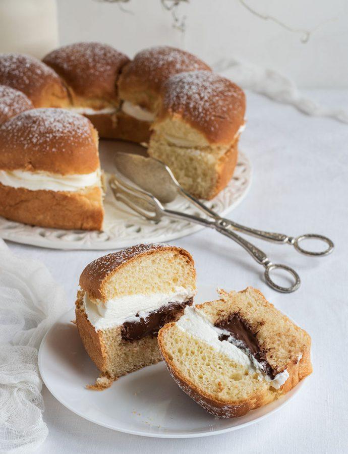 Corona di pan brioche con Nutella e panna