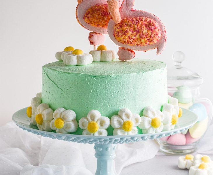 Torta marshmallow con fenicotteri rosa